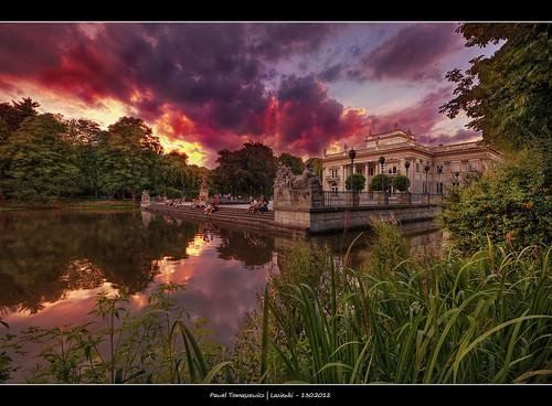 park sunset summer sky colors clouds sunrise canon colours poland polska warsaw dri hdr warszawa hdri lazienki chmury lazienkowski