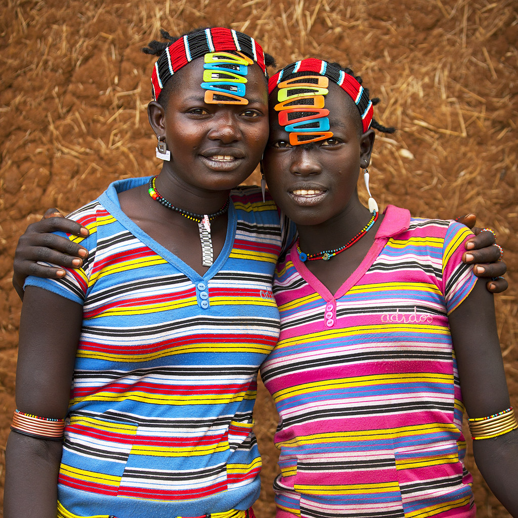 Fashionable Bana tribe girls, Key Afer, Omo Valley, Ethiopia,Key Afer, Ethiopia