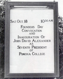 The marquee from the inauguration of Pomona College's seventh president, David Alexander, on October 18, 1969