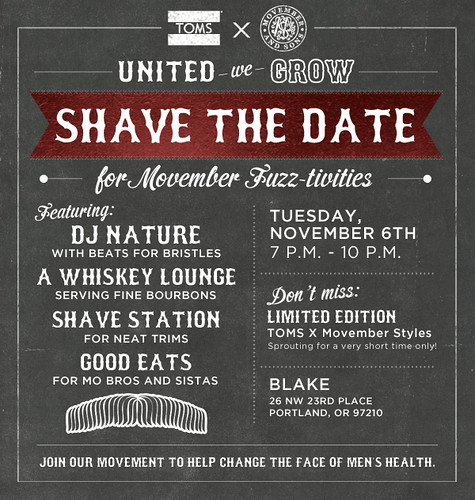 Shave The Dates for Movember Tom's Shoes