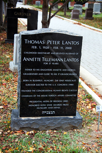 Tom Lantos grave - front - Congressional Cemetery - Washington DC - 2012