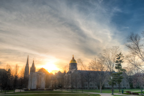 sunset sun college clouds campus nikon dusk indiana notredame southbend d800 in goldendome southbendin sacredheartchurch nikond800 bryanjaronik