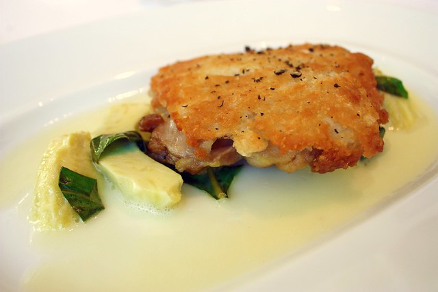 Parmesan Crusted Confit Leg of Chicken, Artichoke, Basil, and Lemon Butter at Jean Georges New York