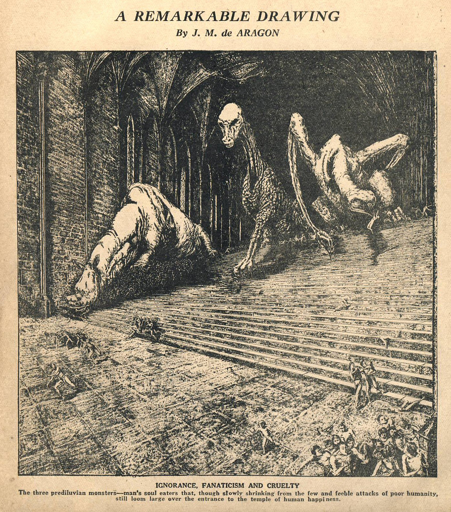 J.M. de Aragon - A Remarkable Drawing, Amazing Stories, June 1927