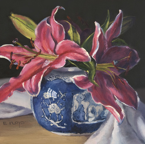 Still Life with Stargazer Lilies & Ginger Jar