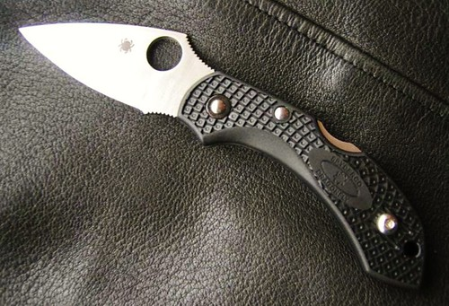 "Spyderco C28SBK2 Dragonfly 2 Folding Knife 2-5/16"" VG10 Serrated Blade, Black FRN Handles"