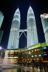 Night view of the Petronas Towers, Kuala Lumpur, Malaysia
