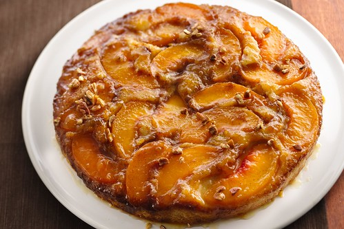 Caramelized peach upside down cake