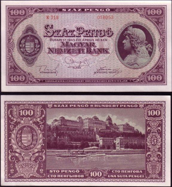 100 Pengő Maďarsko 1945, Pick 111