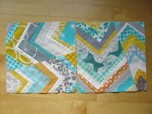wonky chevron bee blocks