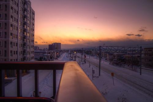winter sunset sky japan sapporo hdr photomatix