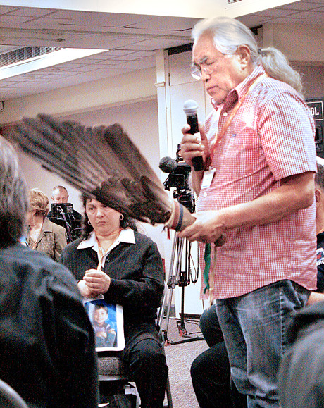 William Jones speaks at the Truth and Reconciliation Commission hearings in Victoria