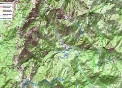 Carte du Haut Cavu avec la situation des sentiers début 2012