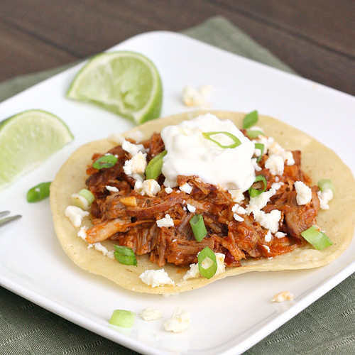 Spicy Mexican Shredded Pork Tostadas