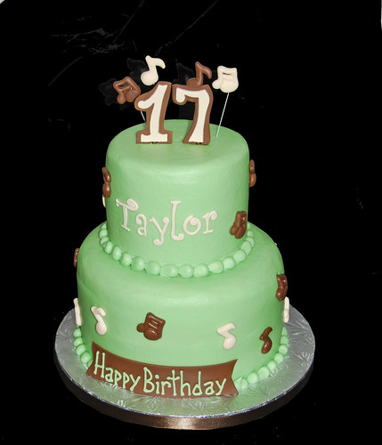 sage green, brown and cream music themed 17th birthday cake