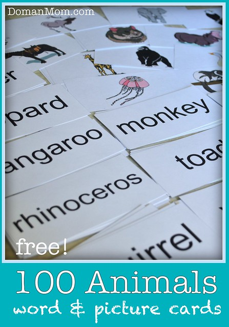 100 Free Animal Word Flash Cards (with Pictures)