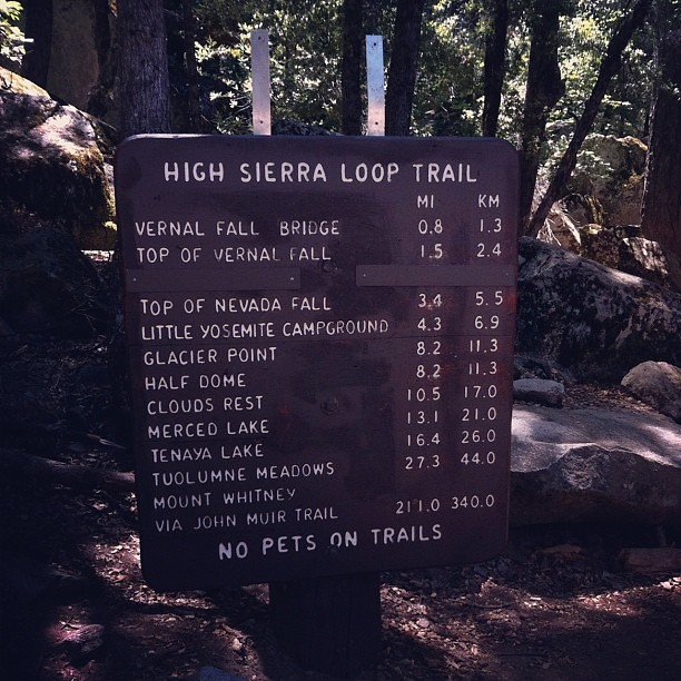 High Sierra Loop Trails. I did the Vernal Falls yesterday. My 7-yr old did Vernal Falls + Nevada Falls. Take the distance and double it, which equals there and back. #yosemite #hiking