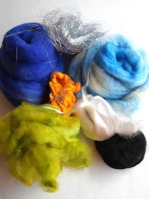 FCK-carding package - batt pack-3oz-Falkland, BFL,Angelina, silk noils, Corriedale fleece, black Merino