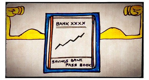 Cartoon image of a bank passbook with muscles.