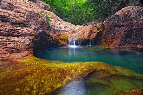 trees light mountain motion green nature water river landscape waterfall big pond woods stream view place outdoor stones turquoise bottom blurred ukraine calm canyon clean clear transparent freshness bathofyouth crimeabigcanyon