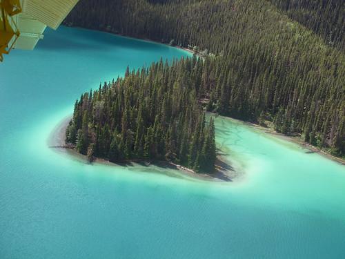 Landing on Muncho Lake in Urs's Twin Otter