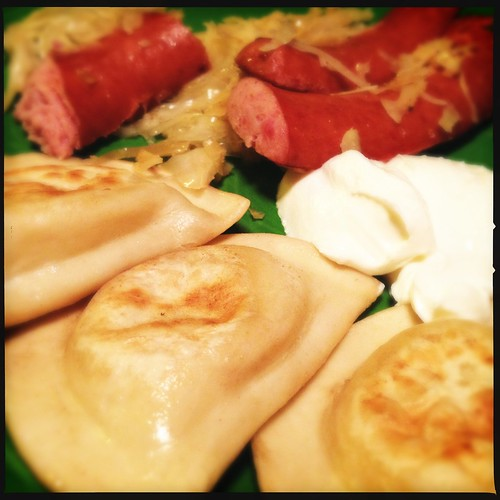 Yay dinner! I was starving. Thank you Mr S for pierogies, kraut, and kielbasa. :)