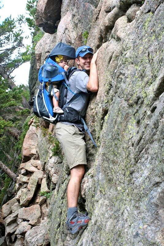 Climbing a cliff.