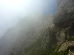 Col N bis de Quercitella : le versant E dans les nuages