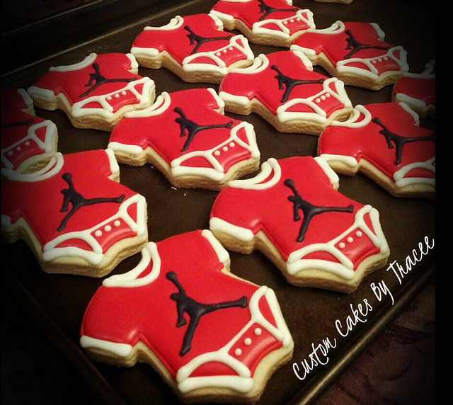 jordan logo baby shower onesie cookies explore custom cake