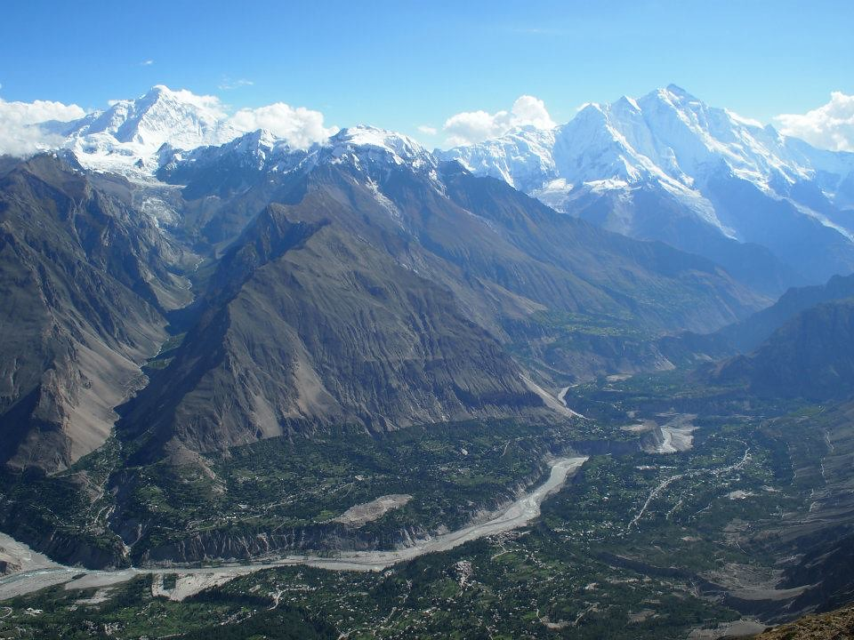Panorama of Hunza Valley and Diran Peak and Rakaposhi dividing Hunza and Nagar Vally by Hunza river height=720