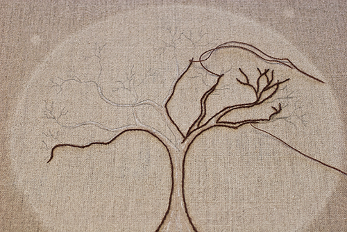 Embroidered Tree- in progress