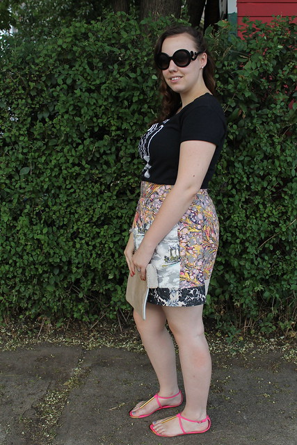 Pixies and Roses outfit: Band tee, mixed print skirt, Dolce Vita sandals, sparkly suede clutch