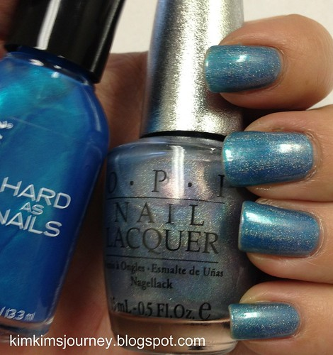 OPI DS Sapphire over WnW Teal Steal