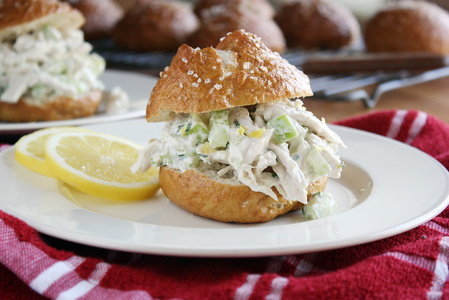 lemon chicken salad on a pretzel bun.
