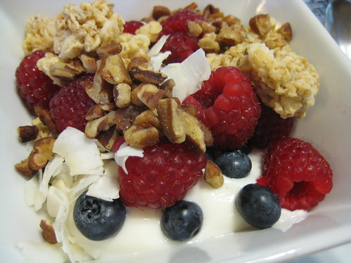 granola, berries and greek yogurt
