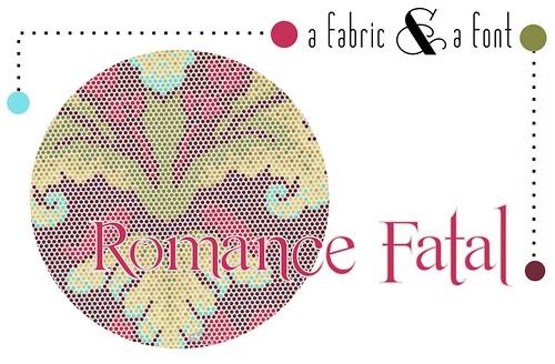 A Fabric & A Font Party Decor Inspiration: Romance Fatal Serif + Tina Givens Parisville Damask Dot Pomegranate by fabricpaperglu