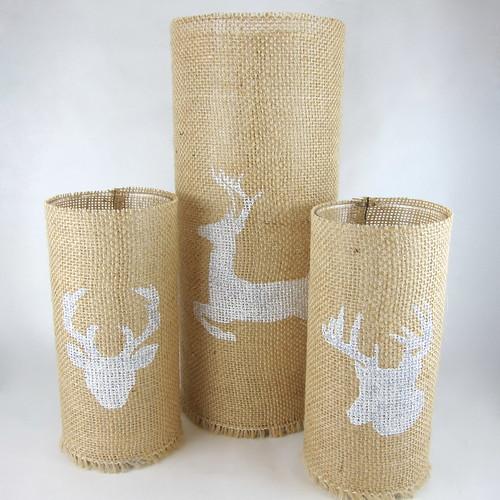 Iron Craft Challenge #22 - Stenciled Burlap Candleholders