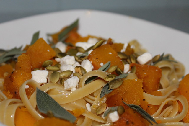 Fettuccine with roasted pumpkin, fresh sage, goat cheese, and roasted pepitas