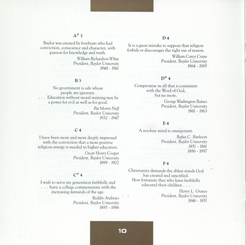 McLane Carillon dedication program, quotation pages, 1988