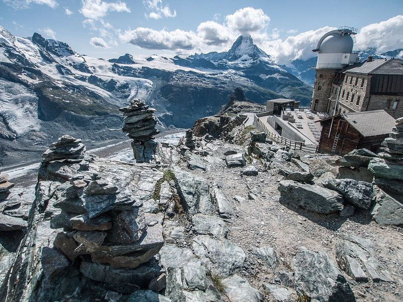 Cairn, the observatory, and the Matterhorn