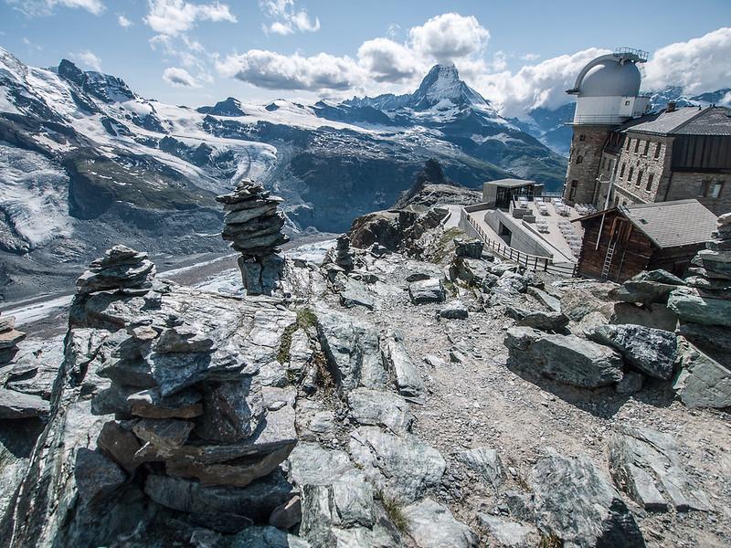 Cairn, the observatory, and the Matterhorn