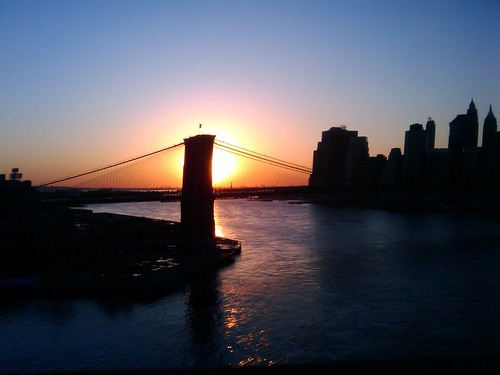 Sunset over Brooklyn Bridge