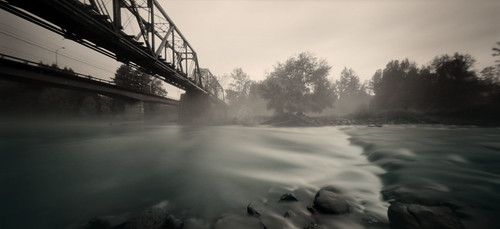 railroad morning bridge trees panorama film nature water grass fog analog river landscape flow early washington holga northwest pinhole silence pacificnorthwest fujifilm lensless pinholephotography estenopeica primitive lochkamera sténopé washougalriver autaut fotografiaotworkowa skylė stenoscopia пинхол 120wpc