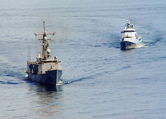 united states coast guard cutter(0.0), arctic(0.0), fishing trawler(0.0), fishing vessel(0.0), guided missile destroyer(0.0), tugboat(0.0), naval ship(1.0), vehicle(1.0), ship(1.0), sea(1.0), navy(1.0), research vessel(1.0), frigate(1.0), patrol boat(1.0), destroyer(1.0), watercraft(1.0), boat(1.0), coast guard(1.0),