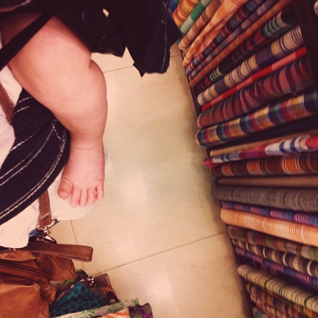 Baby girl's first trip to my favorite #fabric store #nehruplace  #India #delhi #vscocam