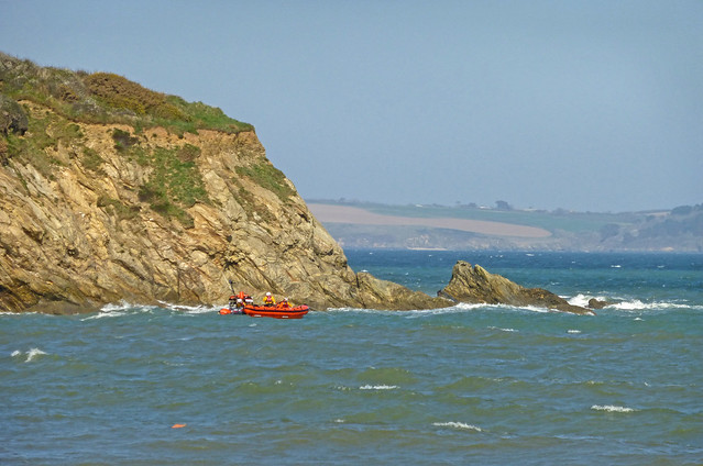 Red dinghy at Maenporth