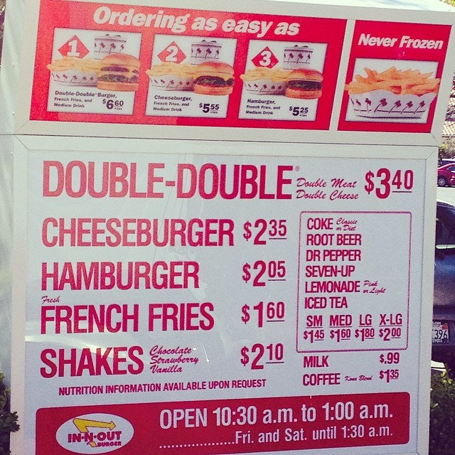 In N' Out Burgers 04/2014 prices | will | Flickr