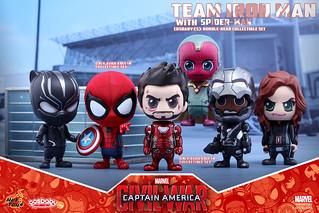 Hot Toys – 美國隊長3:英雄內戰 –【鋼鐵人陣營】Team Iron Man with Spider-Man Cosbaby
