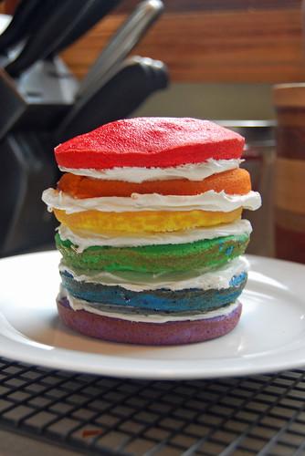 Rainbow Mini Cake in Progress