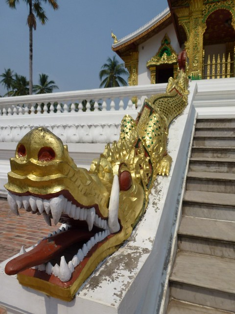 Dragon on the stairs of the Haw Pha Bang Temple